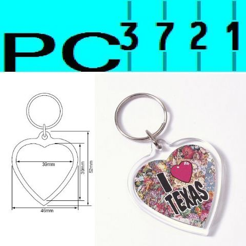 Pack of 10 Blank Heart Shape Clear Plastic Keyrings 39 mm Max Insert 09015
